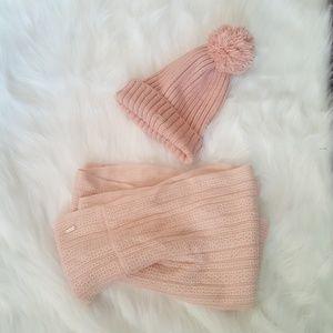 Calvin Klein Rose Pink Scarf & Hat Set